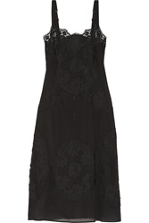 Dolce And Gabbana Silk Blend Crepe And Lace Slip Black