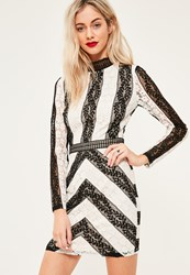Missguided Black Lace High Neck Bodycon Dress Monochrome