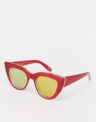 Asos Flat Top Cat Eye Sunglasses With Metal Sandwich And Flat Lens And Acetate Transfer Red