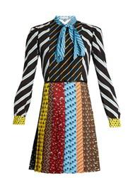 Mary Katrantzou Knight Tie Neck Graphic Print Dress Multi