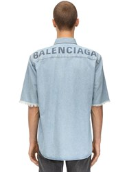 Balenciaga Printed Cotton Denim Shirt Dirty Clear Blu