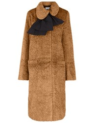 Isa Arfen Bow Neck Velvet Coat In Camel Beige