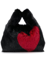 Simonetta Ravizza Mini Furrissima Heart Bag Black