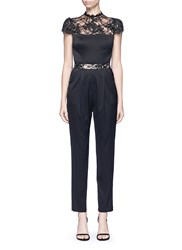 Alice Olivia 'Rosalia' Lace Panel Sateen Jumpsuit Black