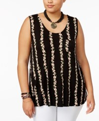 American Rag Trendy Plus Size Floral Stripe Tank Top Only At Macy's Classic Black Combo