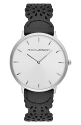 Rebecca Minkoff Major Etched Leather Strap Watch 40Mm Black Silver