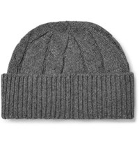 Anderson And Sheppard Cable Knit Wool Beanie Gray