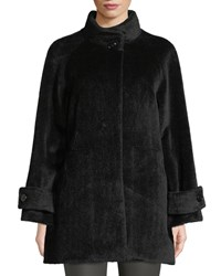 Cinzia Rocca Stand Collar Button Front Baby Llama Wool Jacket Black