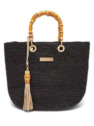 Heidi Klein Savannah Bay Mini Bamboo Handle Raffia Bag Black