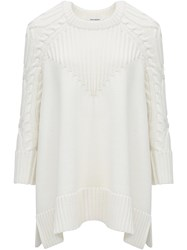 Paco Rabanne Cable Knit Sweater Neutral