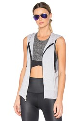Beyond Yoga Vest Behavior Hoodie Gray