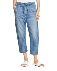 Vince Drawstring Cropped Denim Trouser Light Wash