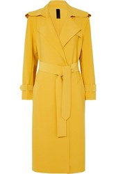 Norma Kamali Belted Cady Trench Coat Yellow