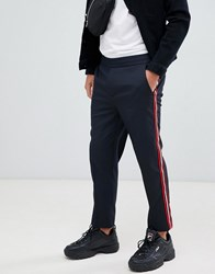 Mennace Trousers In Navy With Side Stripe Grey