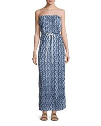 Milly Pahala Sailboat Print Strapless Maxi Coverup Dress Navy