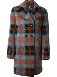 Mcq By Alexander Mcqueen Double Breasted Tartan Coat Blue