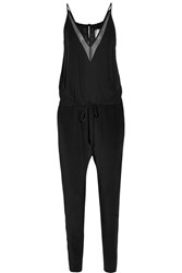 Mason By Michelle Mason Chiffon Paneled Silk Georgette Jumpsuit Black