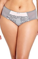Deesse Lingerie By Addition Elle Plus Size Women's High Cut Briefs Opal Grey Ballet Pink