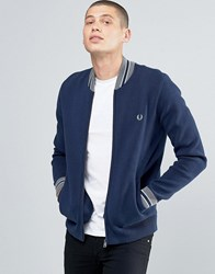Fred Perry Cardigan With Bomber Neck In Dark Carbon Dk Crb Blue