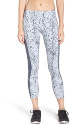 Zella Women's 'Fly By' Print Running Midi Tights Grey Wolf Shatter Print