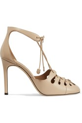 The Row Diamond Lace Up Leather Pumps Beige