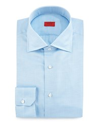 Isaia Textured Solid Woven Sport Shirt Aqua Blue Women's