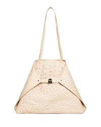 Akris Ai Medium Soft Ostrich Shoulder Bag Tan