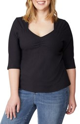 Rebel Wilson X Angels Plus Size Sweetheart Rib Knit Top Black