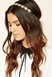 Forever 21 Floral Rhinestone Headwrap Gold