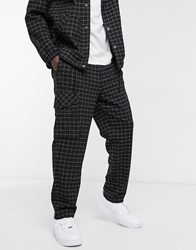Mennace Co Ord Grid Check Pocket Chino In Black