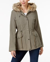 Maralyn And Me Faux Fur Trim Hooded Parka Olive