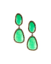 Bavna Chrysoprase And Diamond Double Drop Earrings