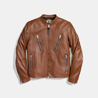 Coach Leather Racer Jacket Fawn
