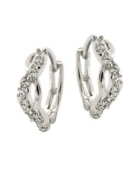Lord And Taylor Sterling Silver Cubic Zirconia Twist Hoop Earrings