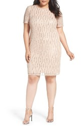Pisarro Nights Plus Size Women's Eyelash Motif Embellished Sheath Dress