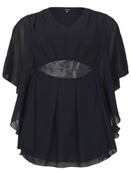 Samya Plus Size Batwing Tunic With Sequins Navy