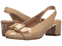Aerosoles Ink Pad Nude Patent Women's Sling Back Shoes Beige
