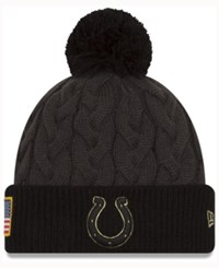 New Era Women's Indianapolis Colts Salute To Service Pom Knit Hat Charcoal