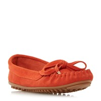 Linea Glovia Suede Driving Moccasin Loafers Red