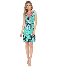 Lilly Pulitzer Bristol Dress Bright Navy Tiger Palm Women's Dress Green