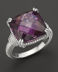 Judith Ripka Sterling Silver Cushion Stone Ring With Purple Crystal