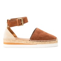 See By Chloe Women's Leather Espadrille Sandals Suola Tan