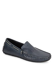 Kenneth Cole Textured Leather Boat Shoes Blue