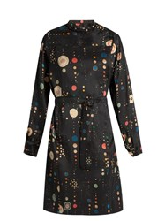 Isabel Marant Ossie Shantung Silk Dress Black Multi
