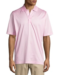 Bobby Jones Palmer Striped Jersey Polo Shirt Carnation
