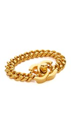 Wgaca Chanel Medium Turn Lock Bracelet Previously Owned Gold