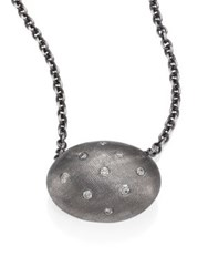 Rene Escobar Diamond And Sterling Silver Oval Pendant Necklace