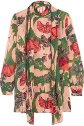 Anna Sui Woodblock Pussy Bow Silk Blouse Green