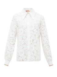 N 21 No. Exaggerated Point Collar Floral Lace Shirt Cream