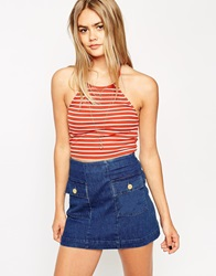 Asos Crop Top With Halter Neck In Stripe